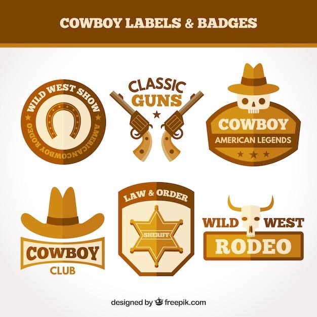 Brown cowboy label set Free Vector