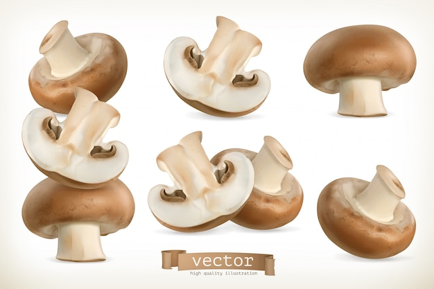 Brown cremini mushroom, 3d set isolated on white Premium Vector