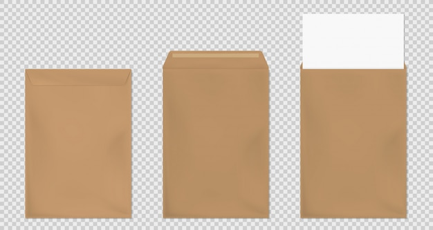 Brown envelope a4 template, blank paper covers set Free Vector