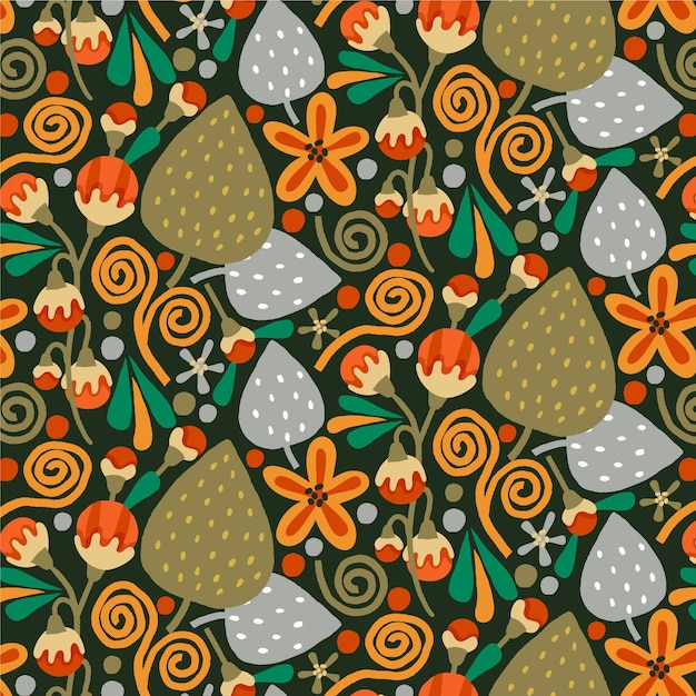 Brown exotic floral pattern Free Vector