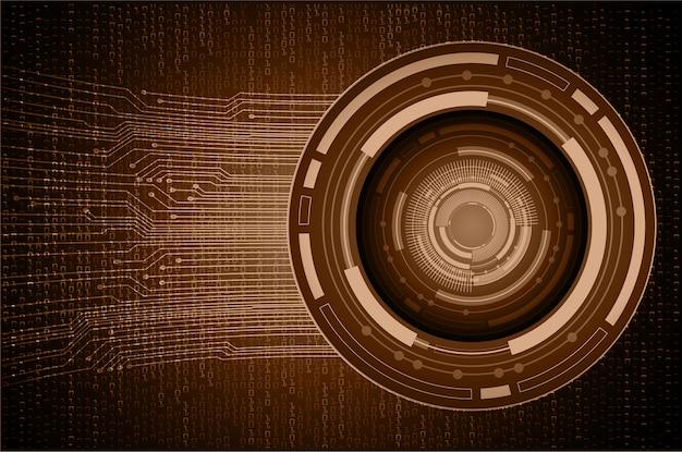 Brown eye cyber circuit future technology background Premium Vector