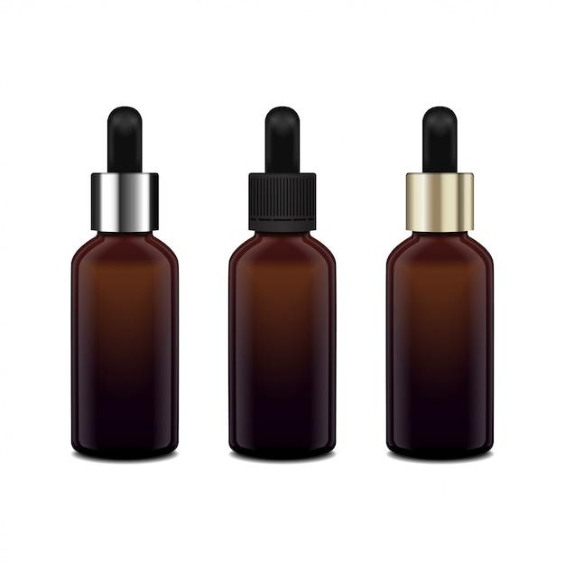 エッセンシャルオイルの茶色のガラスボトル。異なるキャップ。化粧品ボトルや医療用ボトル、フラスコ、ボトルのイラスト Premiumベクター