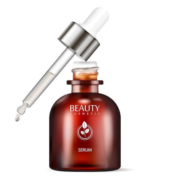 Brown glass dropper bottle for serum Premium Vector