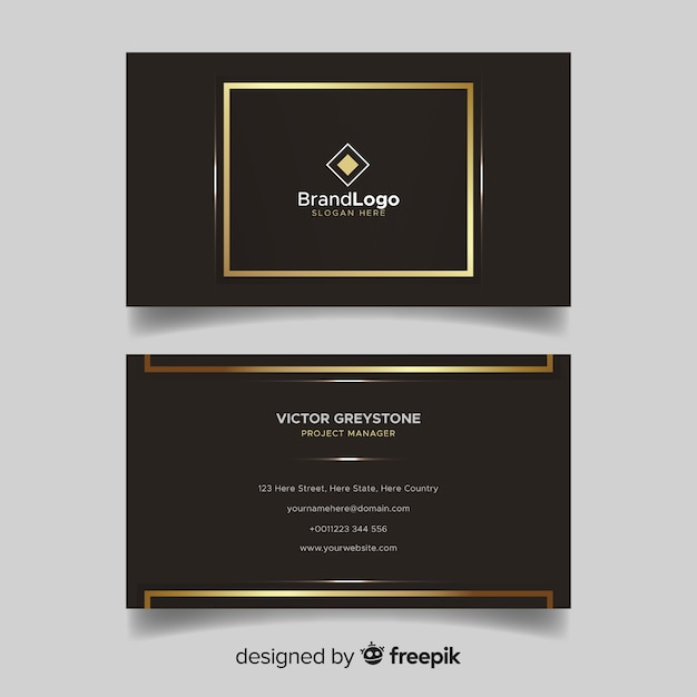 Brown and golden visiting card with logo Free Vector