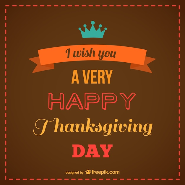 Brown happy thanksgiving card Free Vector