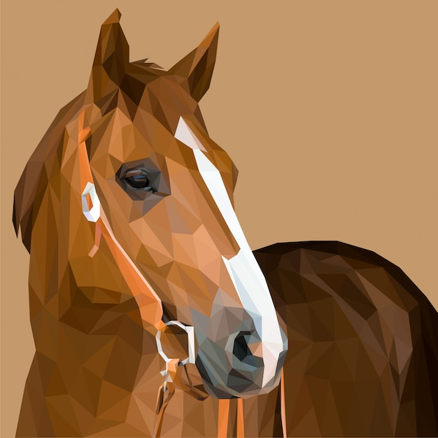 Brown horse lowpoly art Premium Vector