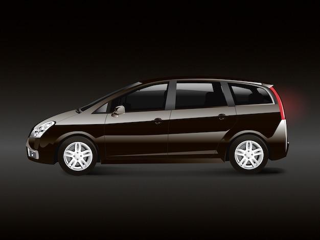 Brown mpv minivan automobile vector Free Vector