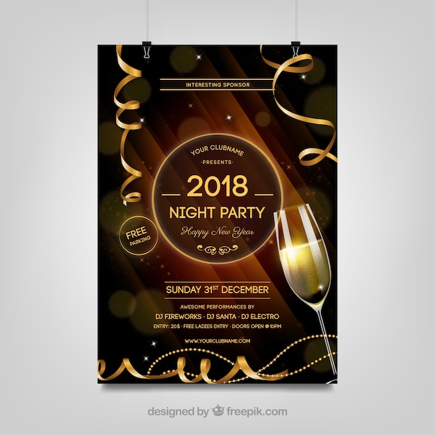 Brown new year party poster in realistic style Free Vector