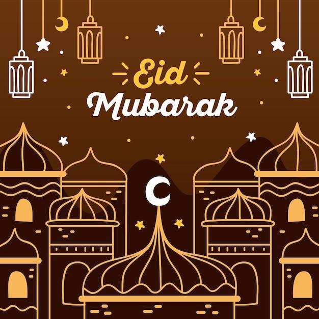 Brown Night Hand Drawn Eid Mubarak Free Vector On Freepik