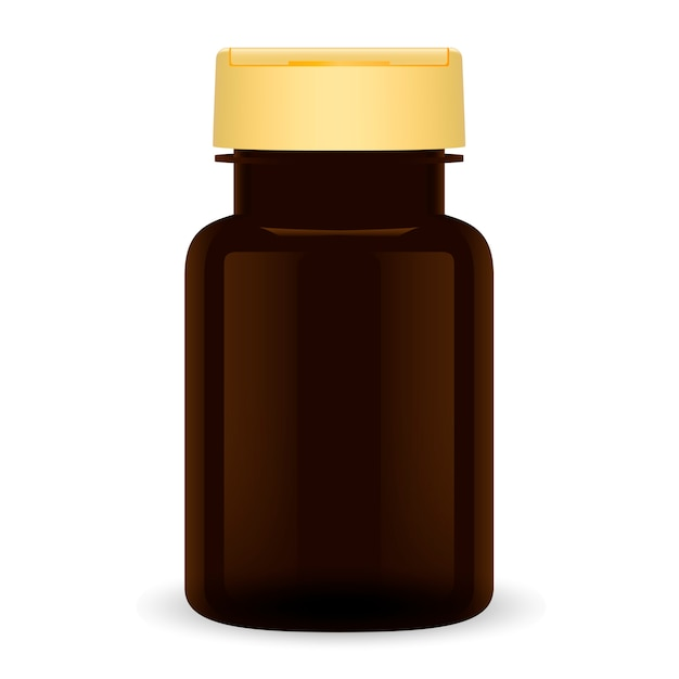 Brown plastic pill bottle. 3d medical can package. Premium Vector