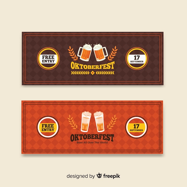 Brown and red oktoberfest banners Free Vector