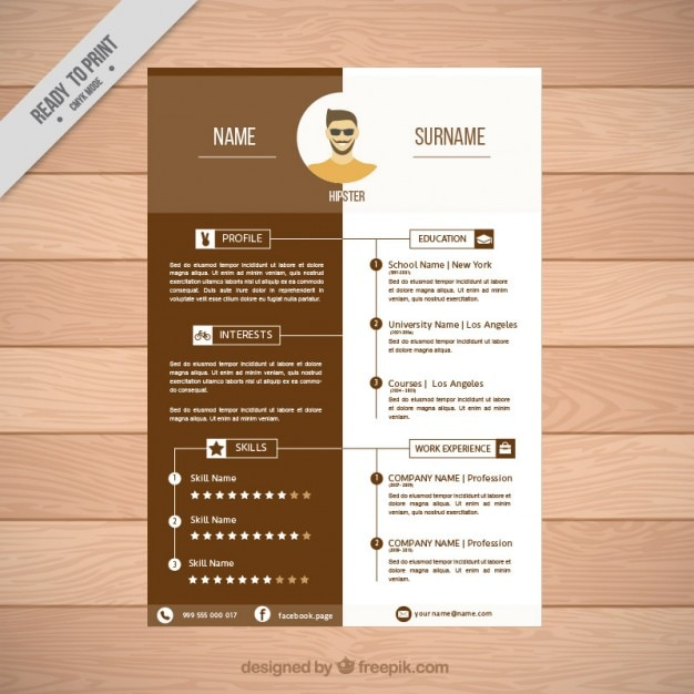 brown resume template vector