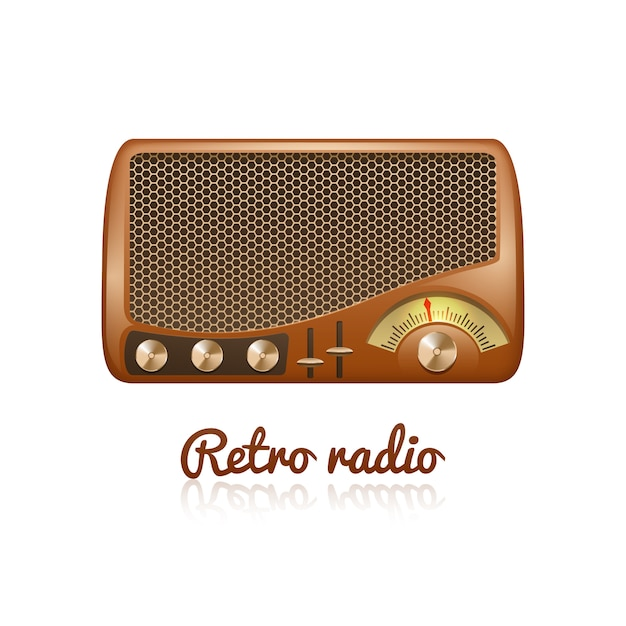 Brown retro classic radio with speaker and sound tuner Free Vector