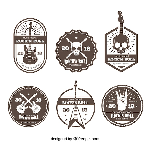Brown rock music logo collection Free Vector