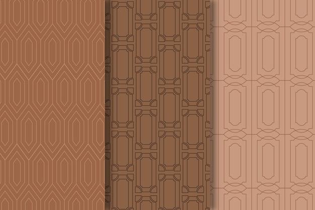 Brown shades ofart deco seamless pattern Premium Vector