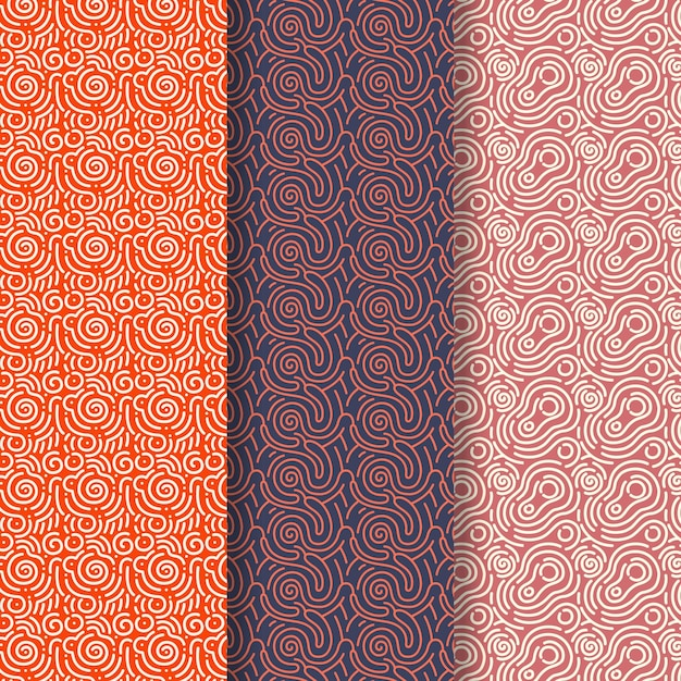 Sfumature marroni della collezione di pattern di linee arrotondate Vettore gratuito