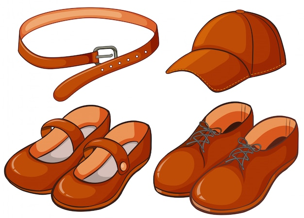 Brown shoes and belt Free Vector