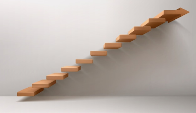 Brown staircase and arrow sign instead of top step Free Vector