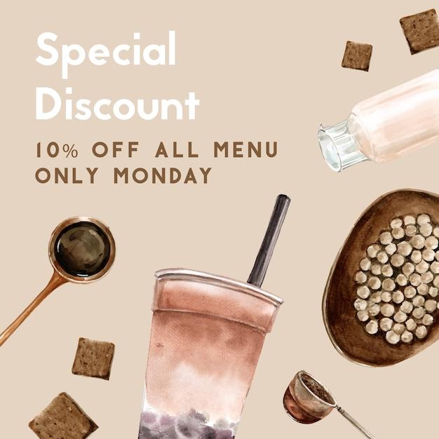 Brown sugar bubble milk tea set, promotion free, flyer template, watercolor illustration Free Vector