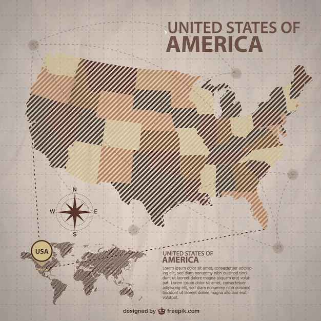 Brown usa maps with the states Vector | Free Download