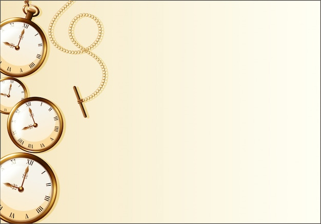Brown wallpaper with retro watch design Free Vector