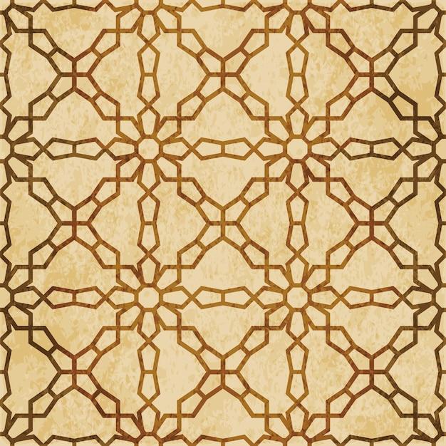 Brown watercolor texture, seamless pattern, cross flower geometry frame chain Premium Vector