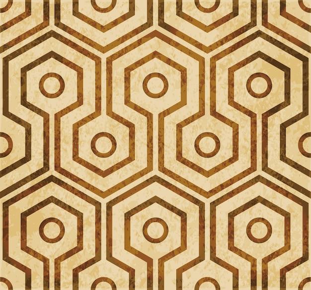 Brown watercolor texture, seamless pattern, cross hexagon round frame Premium Vector