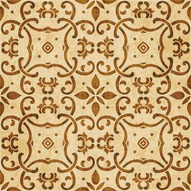 Brown watercolor texture, seamless pattern, curve cross chain flower oriental chintz Premium Vector