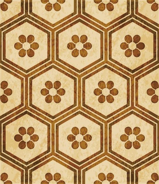 Brown watercolor texture, seamless pattern, hexagon polygon frame round flower Premium Vector