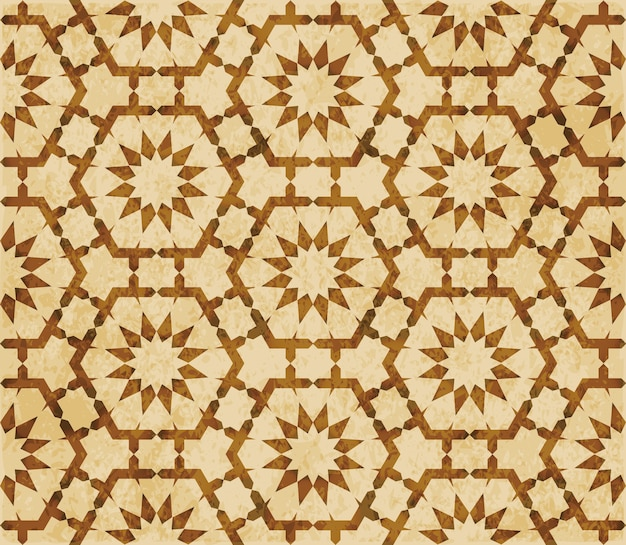 Brown watercolor texture, seamless pattern, polygon geometry flower lace Premium Vector