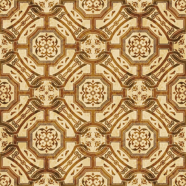 Brown watercolor texture, seamless pattern, round square cross chain flower Premium Vector