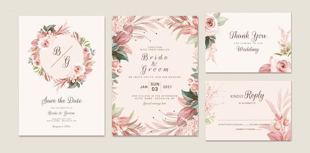 Коричневый свадебный шаблон приглашения установил с мягкой акварельной цветочной структурой и украшением границы. ботаническая иллюстрация для дизайна композиции карты Premium векторы