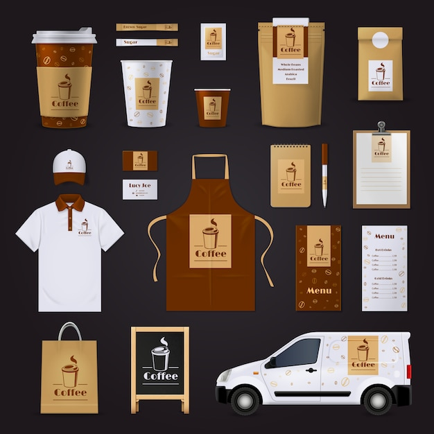 Brown and white coffee corporate identity design set for cafe isolated on black background Free Vector