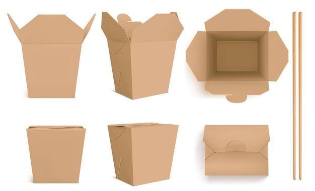 갈색 웍 상자와 젓가락, 중국 음식, 국수 또는 쌀을위한 공예 종이 포장. 닫힌 및 열린 테이크 아웃 상자의 현실적인 전면 및 평면도 및 대나무 스틱 무료 벡터