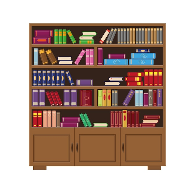 Brown wooden big bookcase with colorfull books. vector illustration for library, education or books