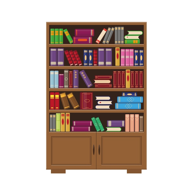 Brown wooden bookcase with books.  illustration for library, education or bookstore concept. Premium Vector
