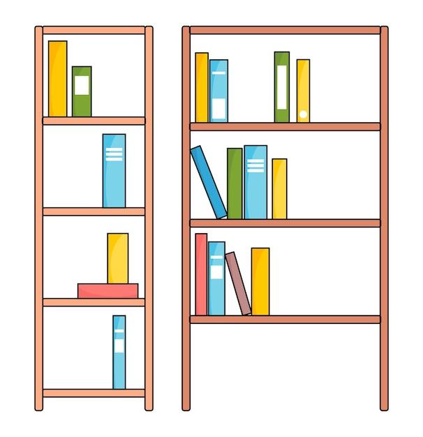 様々な本と茶色の木製本棚。教育や書店のコンセプト Premiumベクター