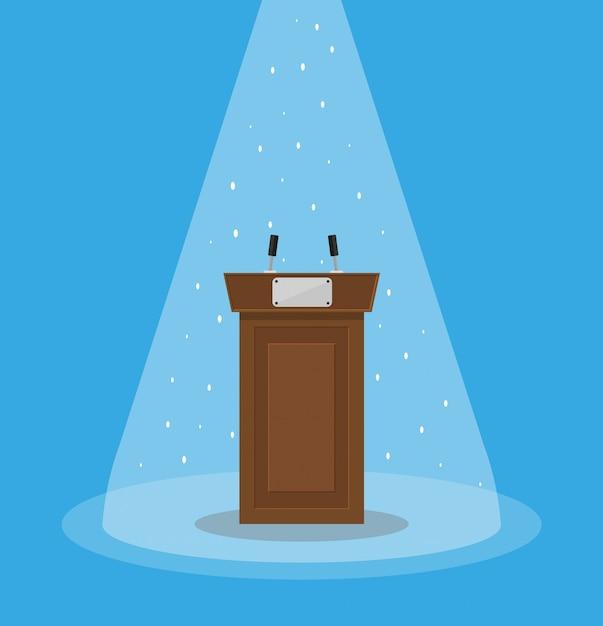 Brown wooden podium tribune rostrum Premium Vector