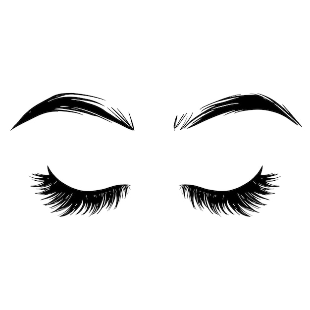 Brows and lashes  illustration. beautiful eyelashes. Premium Vector
