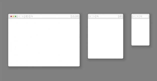 브라우저 모형. 웹 사이트 다른 장치 웹 창 모바일 화면 인터넷 플랫 템플릿 빈 페이지 네트워크 행 세트 프리미엄 벡터