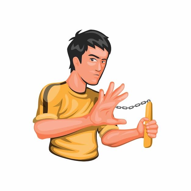 Bruce lee holding nunchaku jeet kune do kungfu martial art fighter character in cartoon Premium Vector