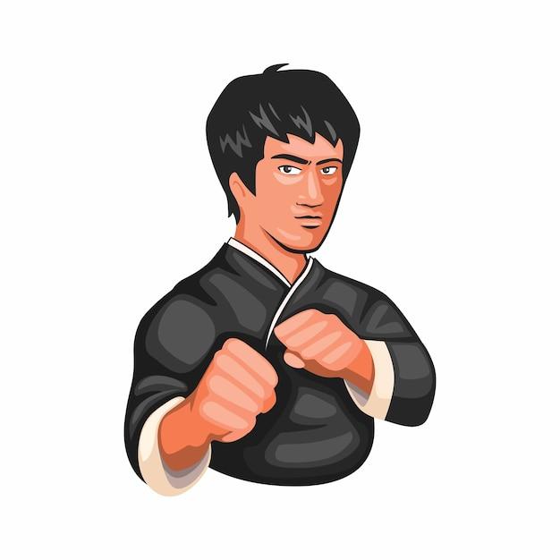 Bruce lee kungfu jeet kune do martial art figther character in cartoon illustration Premium Vector