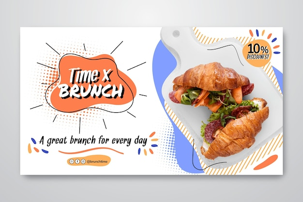 Brunch banner template with discount Free Vector