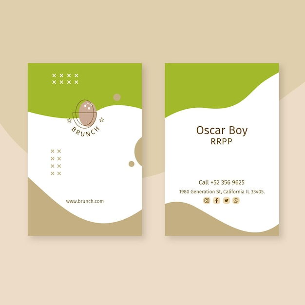 Brunch business card Free Vector