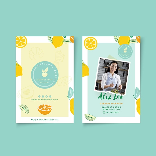 Brunch id card template Free Vector