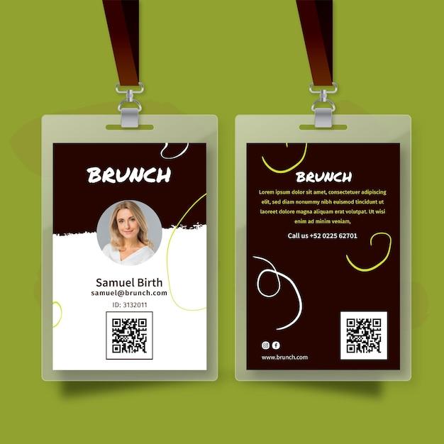 Brunch id card Free Vector