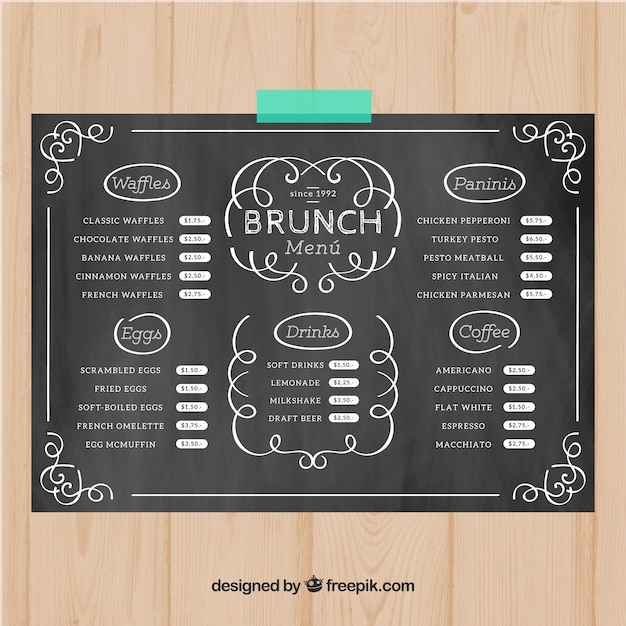 brunch menu template in chalk style vector free download
