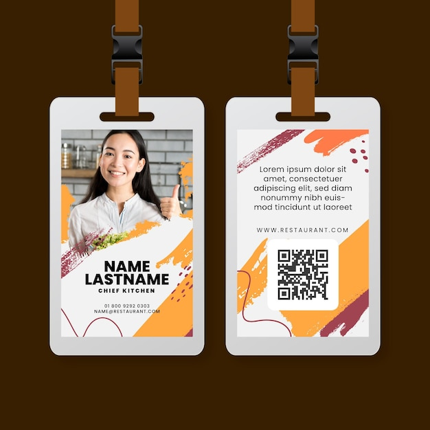Brunch restaurant id card template Free Vector