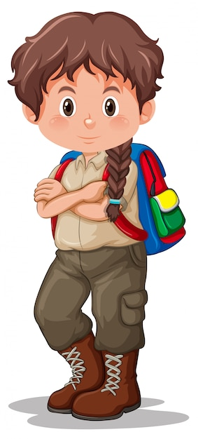 A brunette boy scout Vector | Free Download