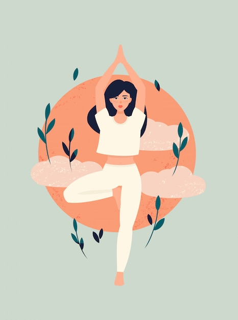 Premium Vector Brunette Girl Doing Yoga In Tree Pose With Sun And Clouds You will strengthen and stretch your legs and core while improving your balance. https www freepik com profile preagreement getstarted 6726523